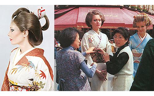 初代 山﨑伊久江、パリ作品集出版のため渡仏。H.C.F世界大会に日本代表として出演。十二単を展示。